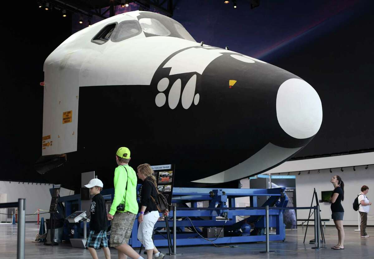 The crew cabin of the Space Shuttle Trainer is shown at the Museum of Flight on Thursday, July 26, 2012 as the aft section of the trainer is delivered. The crew cabin was delivered earlier to the museum. The middle section of the Shuttle trainer is scheduled to be delivered on August 9th.