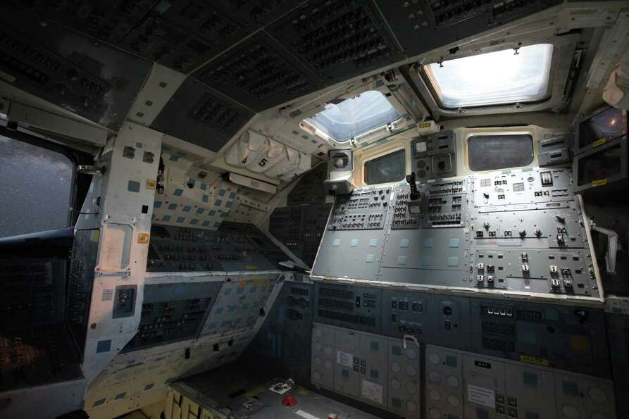 The interior of the crew cabin of the Space Shuttle Trainer is shown at the Museum of Flight on Thur