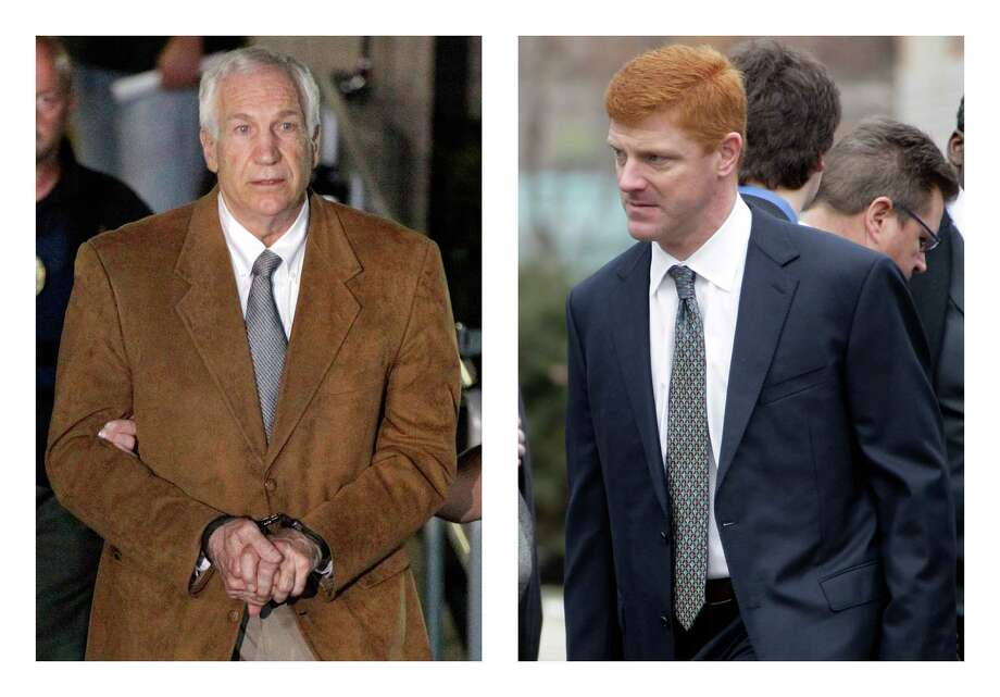 """FILE - In this combination of 2012 file photos, former Penn State University assistant football coach Jerry Sandusky, left, leaves the Centre County Courthouse in Bellefonte, Pa. in handcuffs, and former Penn State assistant football coach Mike McQueary waits in line for a public viewing for Penn State football coach Joe Paterno in State College, Pa. A man who claims to be the unknown victim molested in a Penn State shower by Sandusky in a case that led to Paterno's firing intends to sue the university for its """"egregious and reckless conduct"""" that facilitated the abuse, his lawyers said Thursday, July 26, 2012. The identity of so-called Victim 2 has been a central mystery in the Sandusky case, and jurors convicted Sandusky last month of offenses related to him judging largely by the testimony of McQueary, who was a team graduate assistant at the time and described seeing the attack. (AP Photo/Gene J. Puskar) Photo: Gene J. Puskar / AP"""