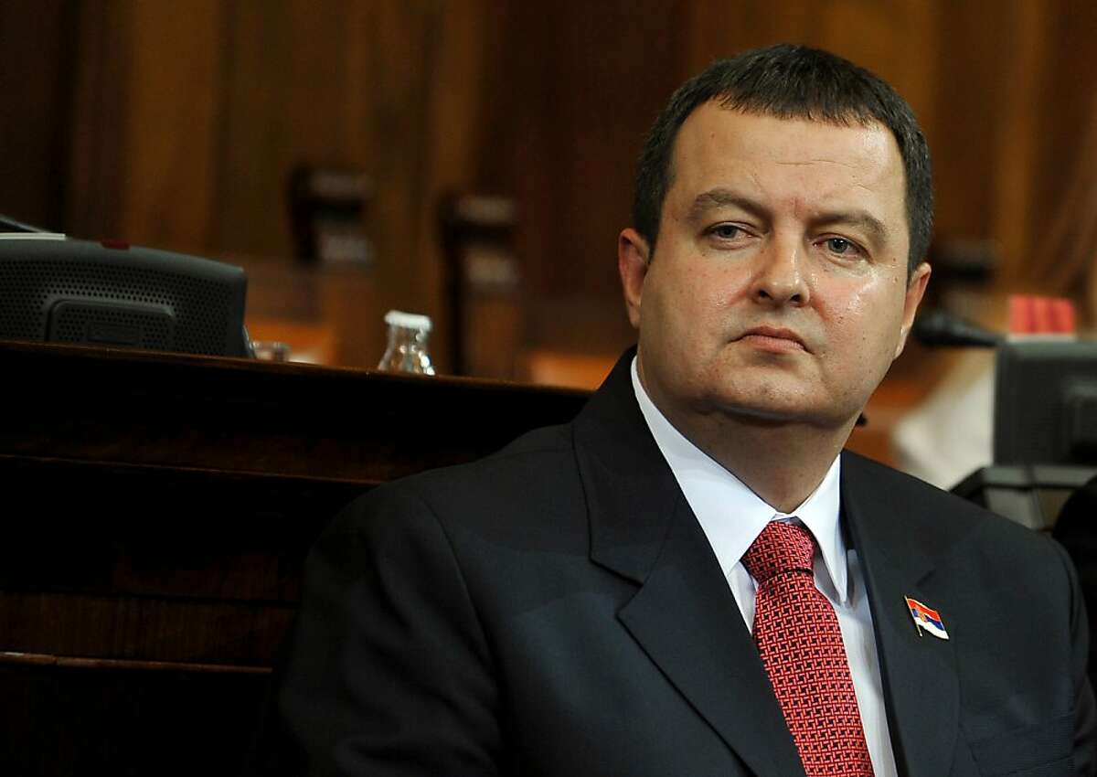 Prime minister-designate Ivica Dacic looks on at the Serbian National assembly building during of a parliament session in Belgrade on July 26, 2012. AFP PHOTO / ANDREJ ISAKOVICANDREJ ISAKOVIC/AFP/GettyImages