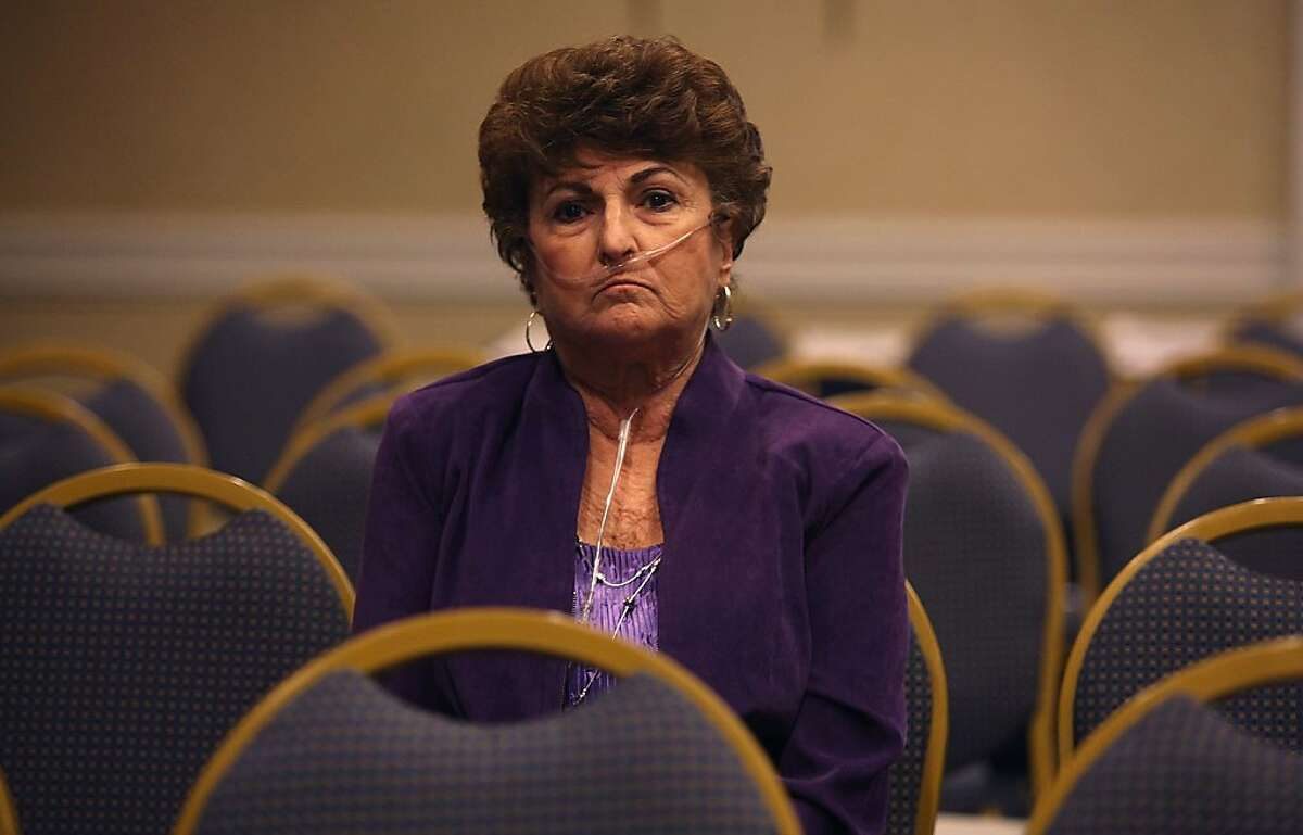 Betty Gemaehlich of Pittsburg, who suffers from pulmonary problems, waits as the agency makes grant decisions on stem cell research projects.