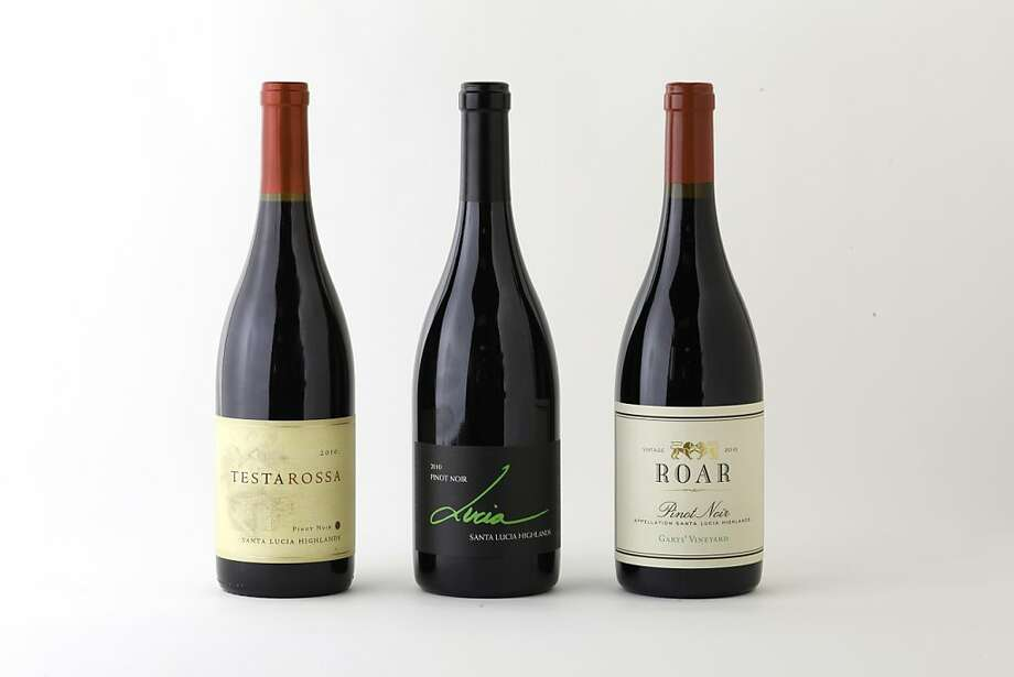 Three bottles of Santa Lucia Highlands Pinot Noir, left-right: 2010 Testarossa; 2010 Lucia Vineyards; and 2010 Roar Gary's Vineyard as seen in San Francisco, California, Wednesday, July 25, 2012. Photo: Craig Lee, Special To The Chronicle