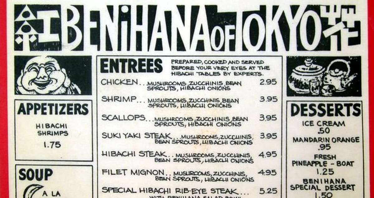 Here's part of Benihana's Seattle menu from 1978. (seattlepi.com file)