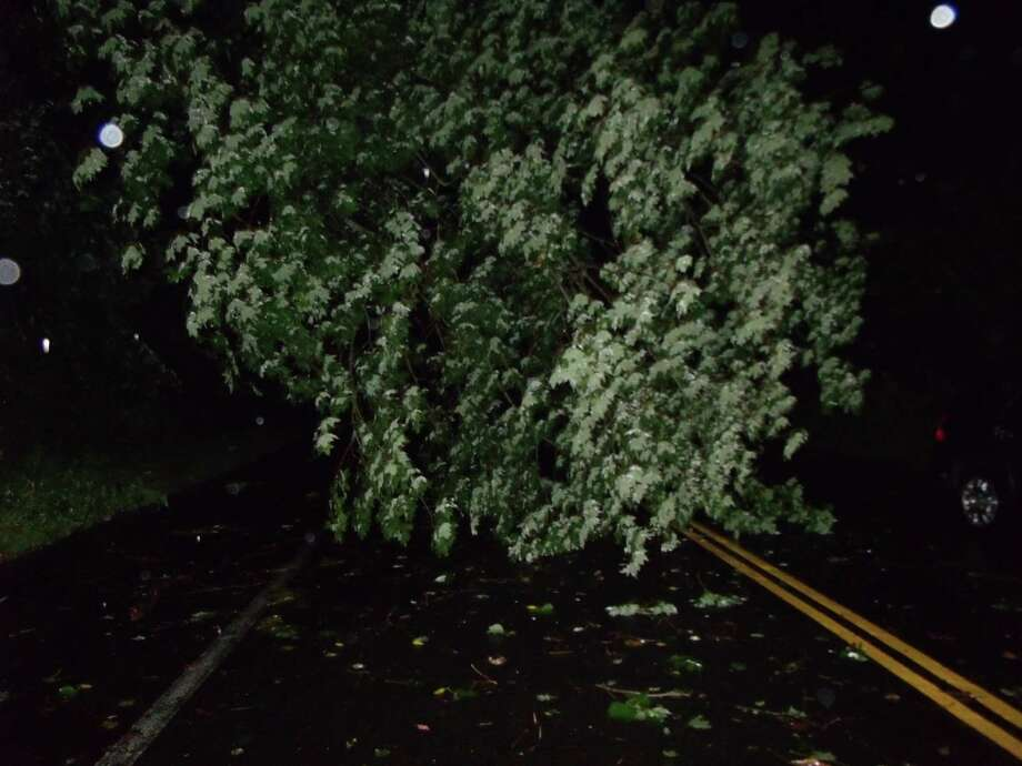 Wires and tree down from a strong thunderstorm blocked Route 57 in Weston on Thursday night. Photo: Todd Tracy / Westport News contributed