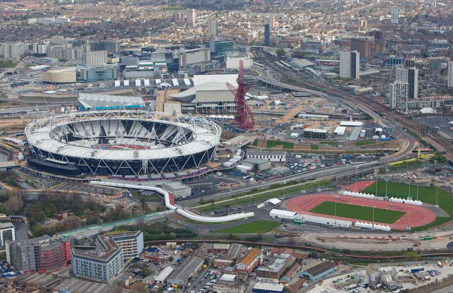 Aerial view of the Olympic Park showing the Olympic Stadium and warm-up track in the foreground. Picture taken on 16 April 2012. Courtesy of Populous. (LOCOG)
