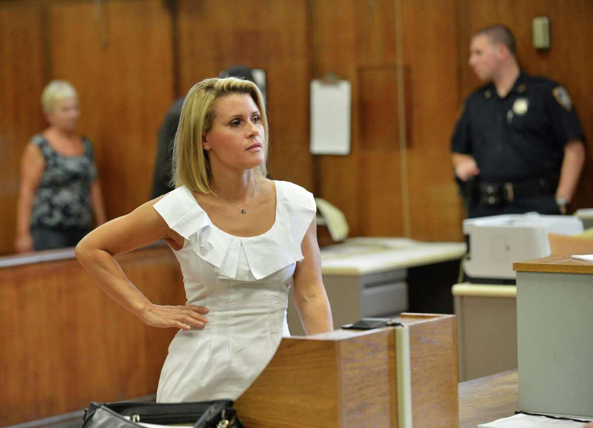 TOPSHOTS Canadian actress Genevieve Sabourin attends Manhattan Criminal Court in New York on July 26, 2012. The 40-year-old actress, who is accused of stalking actor Alec Baldwin, faces five charges including two counts of harassment in the second degree and stalking. TOPSHOTS/AFP PHOTO/Stan HONDASTAN HONDA/AFP/GettyImages