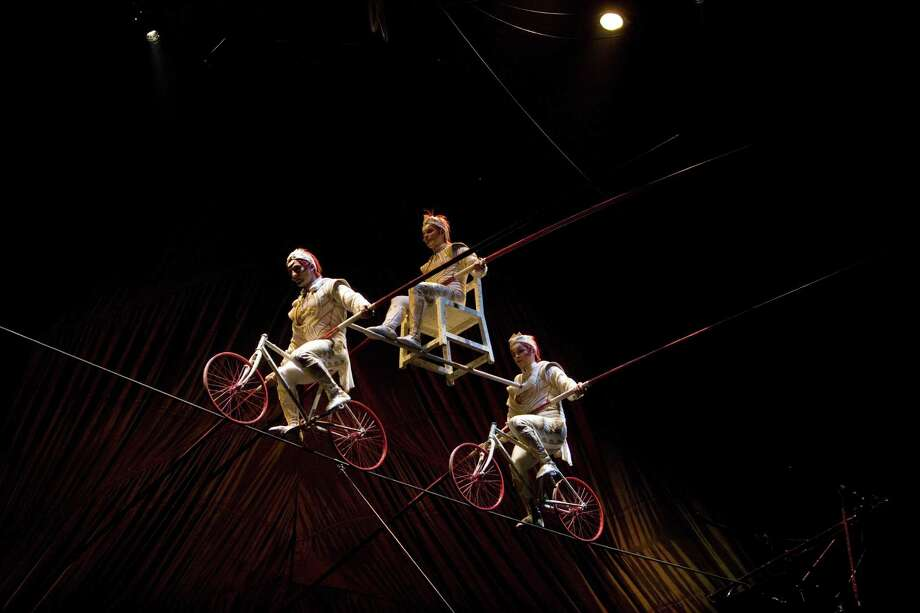 Kooza, touring circus production by Cirque du Soleil which premiered in Montr al, Canada, in 2007. In this image the Quiros Brothers, Spanish circus acrobat family, perform in the Highwire. Photo: Cirque Du Soleil