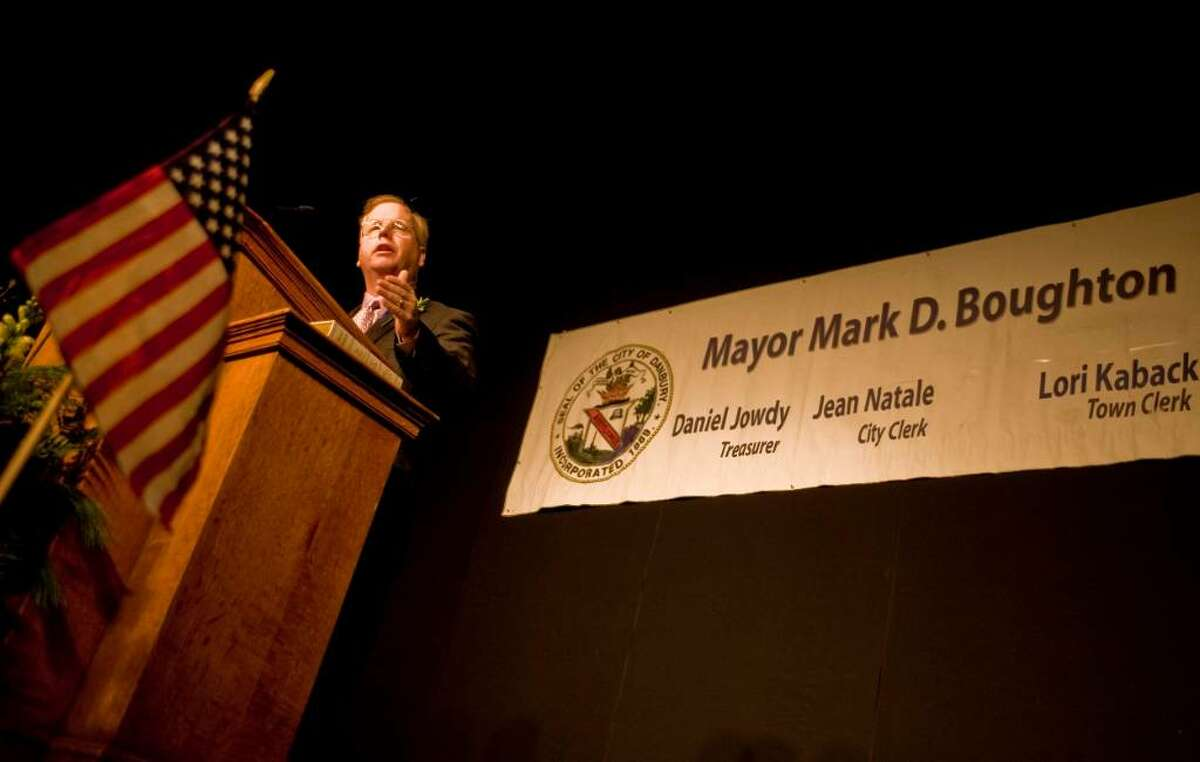 Mayor Boughton gives his address after the swearing-in ceremony at the Palace theater. Monday, Nov. 30, 2009