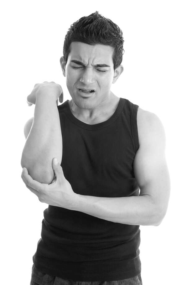 Tennis elbow can be a pain. (Fotolia.com) Photo: Leah-Anne Thompson / © Leah-Anne Thompson, all rights reserved.  Please review your image licence for grant of usage rights and usage limitations for this photograph.    Images used without a licence or my permission  are in breach of Australian and International Copyright laws.