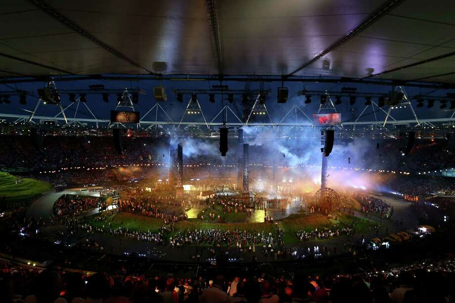 A general view is seen while performers depict a view from the change of the English countryside to the Industrial Revolution during the Opening Ceremony of the London 2012 Olympic Games at the Olympic Stadium on July 27, 2012 in London, England. Photo: Getty Images