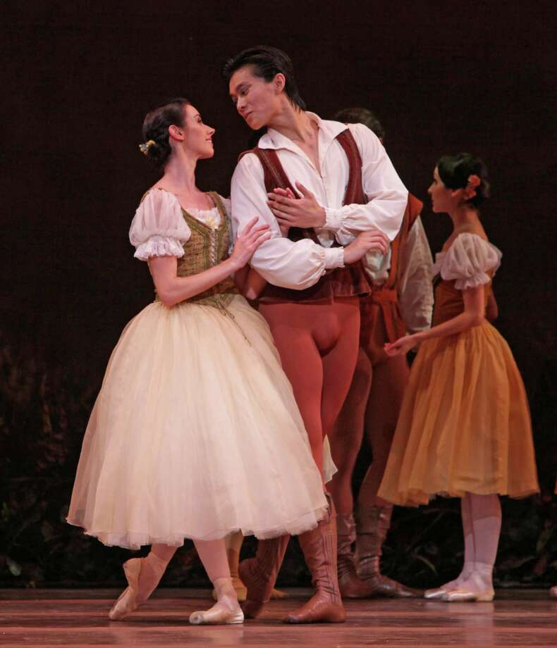 HAPPY COUPLE: Danielle Rowe was Giselle and Jun Shuang Huang was Albrecht in the opening night performance of Houston Ballet's Giselle, staged by Ai-Gul Gaisina. Photo: Amitava Sarkar / handout