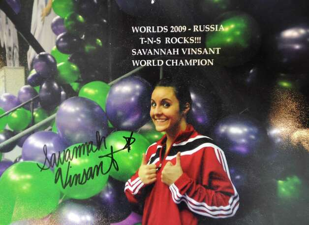 Savannah Vinsant, the 19-year-old who will compete in women's trampoline at the 2012 Olympics in London on Aug. 4, lived in Newton Texas for six years. Before Savannah qualified for the 2012 Olympics, her parents, Neil and Ramonda Vinsant, opened the Twist & Shout Gymnastics and Cheer Studios to give her a place to train and her mother was one of her trainers.  Savannah has scrap books that her mom keeps in the house behind the studio. These are copies of some of her pages.  Photos provided by Ramonda Vinsant
