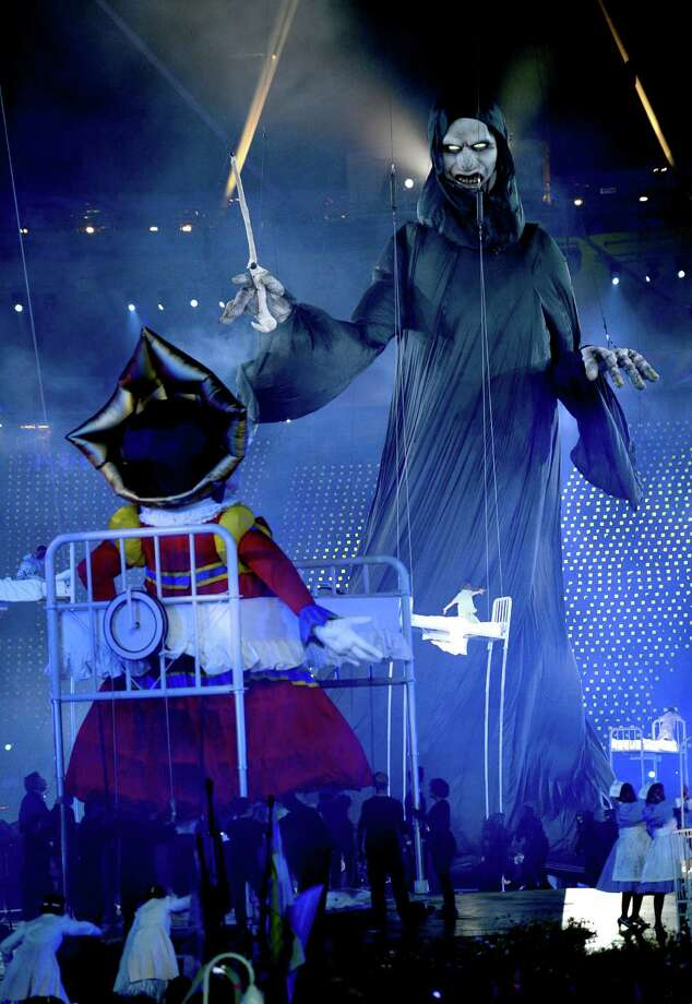 Giant puppets depict villainous characters from British literature during the Opening Ceremony of the London 2012 Olympic Games at the Olympic Stadium on July 27, 2012 in London, England. Photo: Getty Images