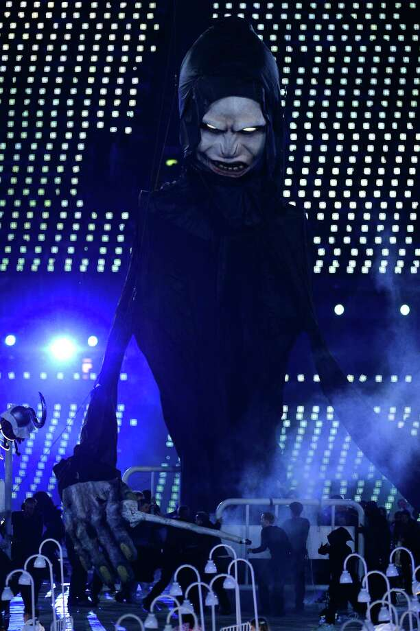 A model of Lord Voldemort performs during the Opening Ceremony of the London 2012 Olympic Games at the Olympic Stadium on July 27, 2012 in London, England. Photo: Getty Images
