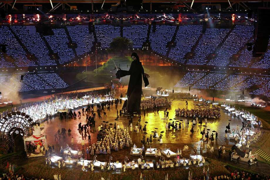 A large Voldemort from the Harry Potter book series looms over performers during the Opening Ceremony of the London 2012 Olympic Games at the Olympic Stadium on July 27, 2012 in London, England. Photo: Getty Images