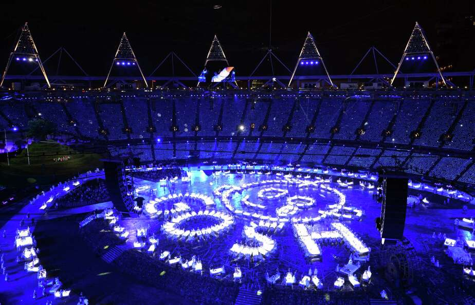 General view taken during the opening ceremony of the London 2012 Olympic Games at the Olympic Stadi