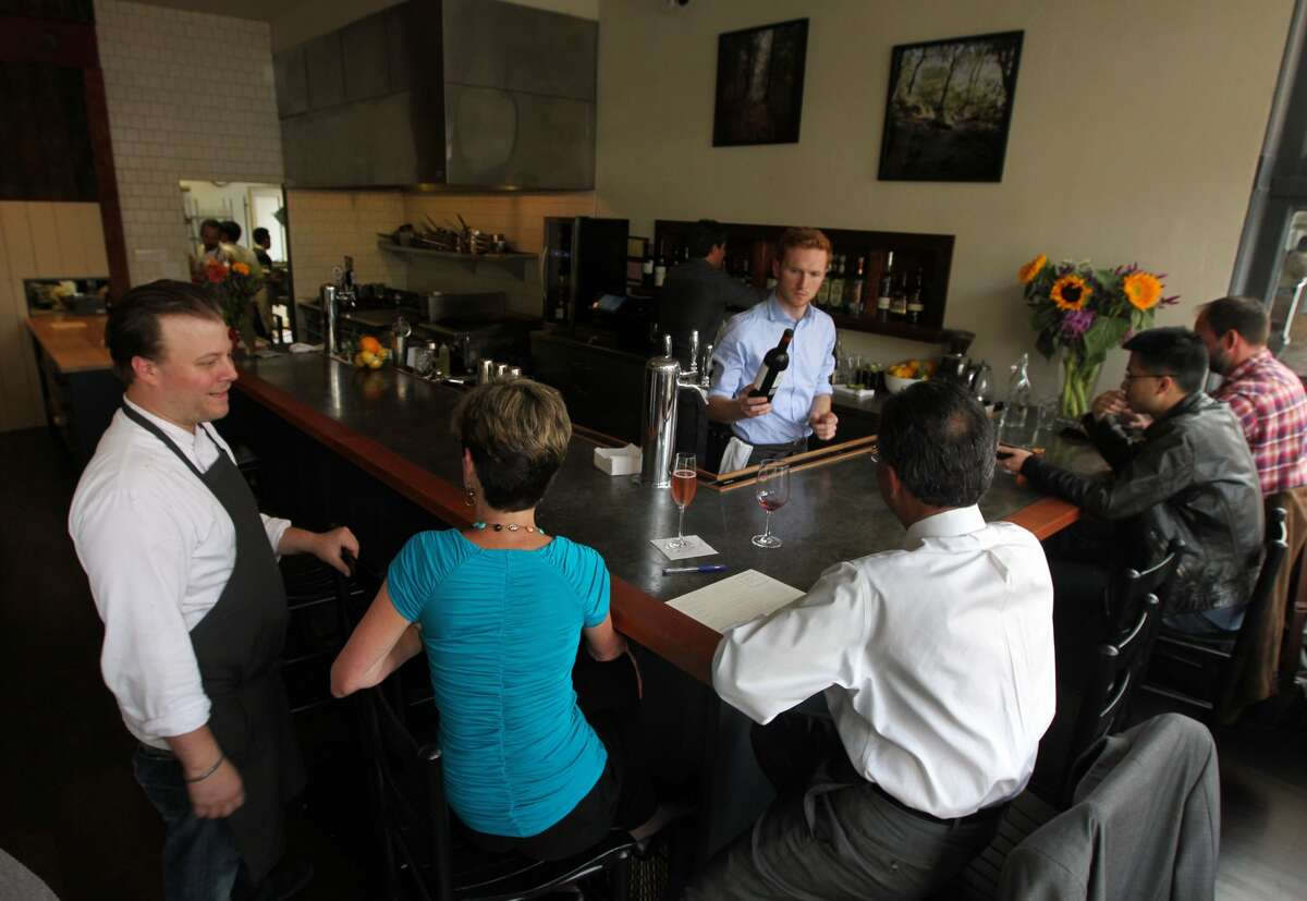 Chef Evan Rich chats with diners on opening night at Rich Table. (Lance Iversen / The Chronicle)