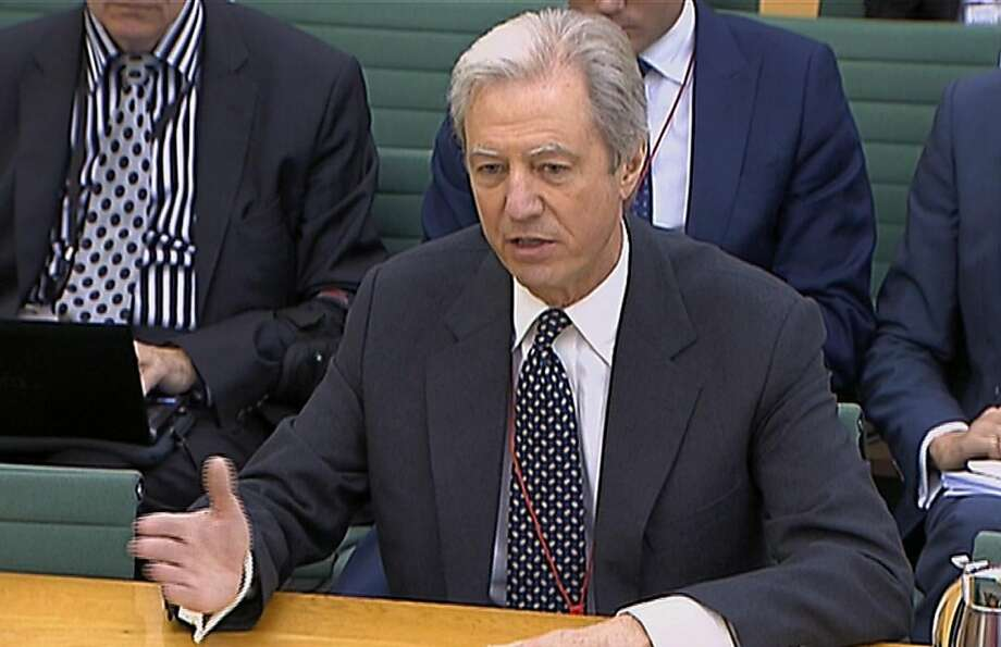 This video image made available by the Parliamentary Recording Unit, shows Barclays chairman Marcus Agius giving evidence to the Treasury Select Committee in Portcullis House, London, Tuesday July 10, 2012.  The bank's outgoing chairman, Marcus Agius, in his testimony to the House of Commons Treasury Committee, said Diamond had waived a potential 20 million pounds ($31 million) in bonuses and share awards. Agius added that as part of the resignation deal, Diamond will receive 12 months' salary and pension contributions worth 2 million pounds.  (AP Photo/Parliamentary Recording Unit) Photo: Associated Press