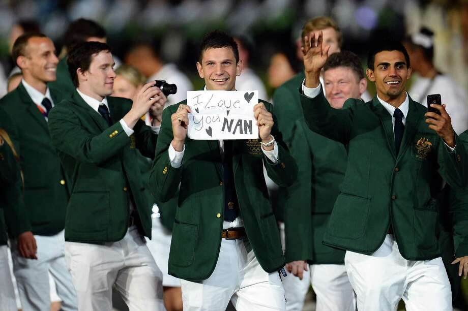 LONDON, ENGLAND - JULY 27:  Members of the Australia team parade into the stadium during the Opening Ceremony of the London 2012 Olympic Games at the Olympic Stadium on July 27, 2012 in London, England. Photo: Lars Baron, Getty Images / 2012 Getty Images