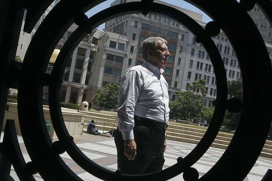 Oakland pensioner Bob Muszar talks about funding retirement benefits at Oakland city hall in Oakland, Calif., on Thursday,  July 12, 2012. Photo: Liz Hafalia, The Chronicle