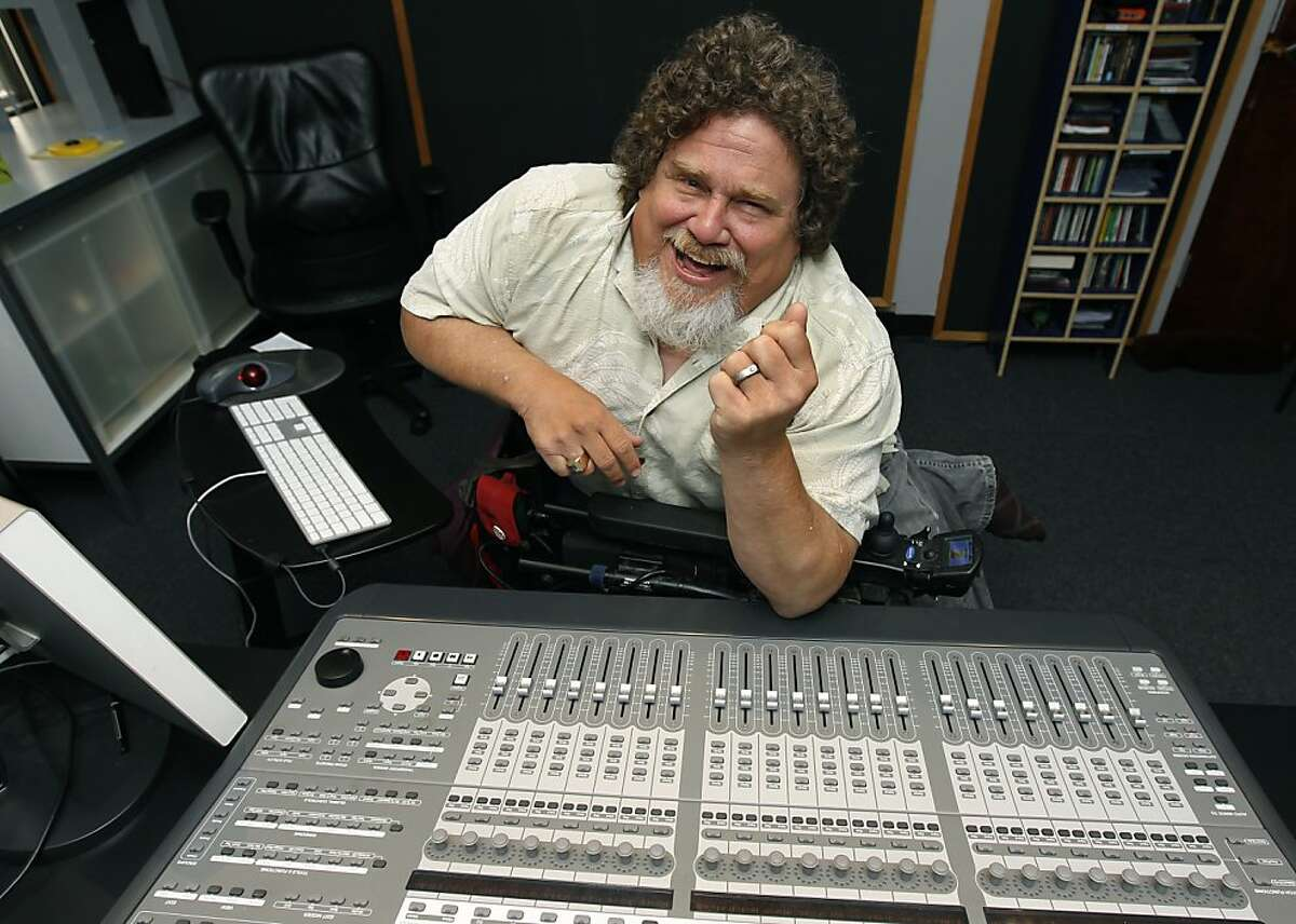 Sound editor Jim LeBrecht mixes audio tracks for a film in his studio in Berkeley, Calif. on Friday, June 22, 2012.