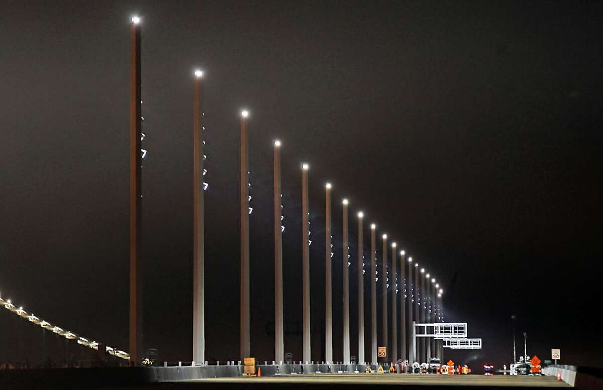 New state of the art lights were tested on the west bound lanes of the new Bay Bridge.
