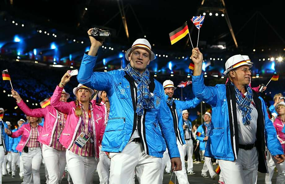 LONDON, ENGLAND - JULY 27:  Members of the German Olympic team enter the stadium during the Opening Ceremony of the London 2012 Olympic Games at the Olympic Stadium on July 27, 2012 in London, England.  (Photo by Cameron Spencer/Getty Images) Photo: Cameron Spencer, Getty Images