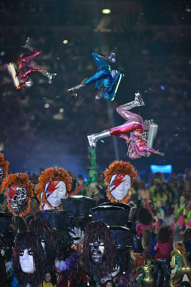 Actors outfitted in jet pack costumes perform during the Opening Ceremony for the London 2012 Summer Olympic Games at the Olympic Stadium in London, England, Friday, July 27, 2012. (David Eulitt/Kansas City Star/MCT) Photo: David Eulitt, McClatchy-Tribune News Service