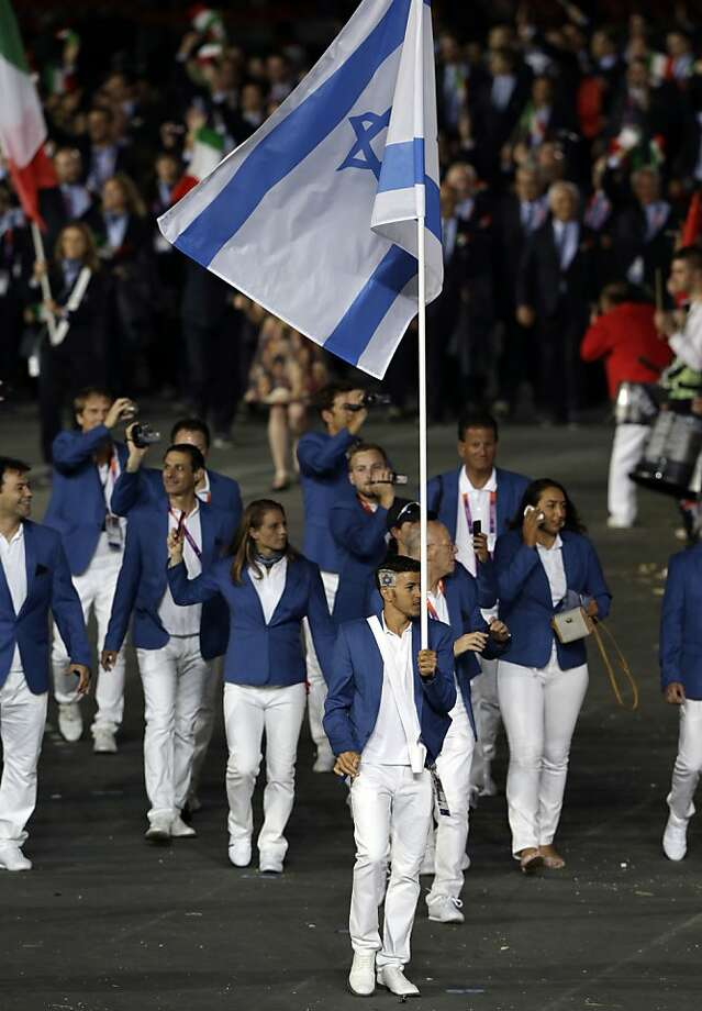 Israel's Shahar Zubari carries the flag during the Opening Ceremony at the 2012 Summer Olympics, Friday, July 27, 2012, in London. (AP Photo/Mark Humphrey) Photo: Mark Humphrey, Associated Press