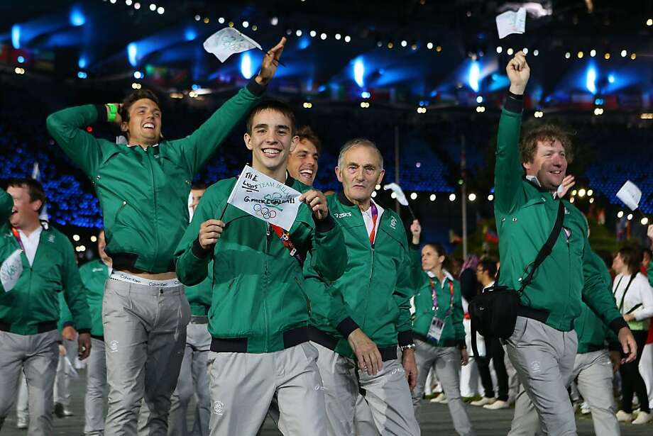 LONDON, ENGLAND - JULY 27:  Irish athletes enter the stadium during the Opening Ceremony of the London 2012 Olympic Games at the Olympic Stadium on July 27, 2012 in London, England.  (Photo by Cameron Spencer/Getty Images) Photo: Cameron Spencer, Getty Images