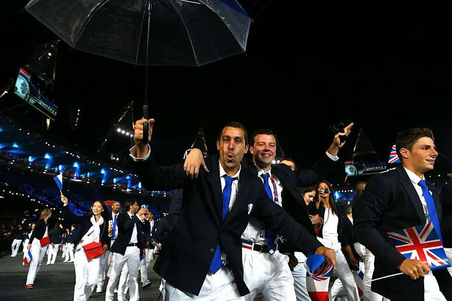 LONDON, ENGLAND - JULY 27:  Members of the French Olympic team enter the stadium during the Opening
