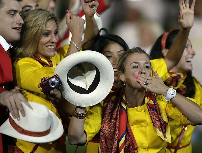 Spanish athletes parade during the Opening Ceremony at the 2012 Summer Olympics, Friday, July 27, 20