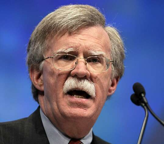 FILE - In this April 13, 2012 file photo, former U.N. Ambassador John Bolton speaks at the National Rifle Association convention in St. Louis. Negotiators at the United Nations are working against a Friday deadline to put final touches on a treaty cracking down on the $60 billion global illicit trade in small arms, a move aimed at curbing violence in some of the most troubled corners of the world. In the United States, gun activists denounce it as an end-run around their constitutional right to bear arms. (AP Photo/Michael Conroy, File) Photo: Michael Conroy, Associated Press