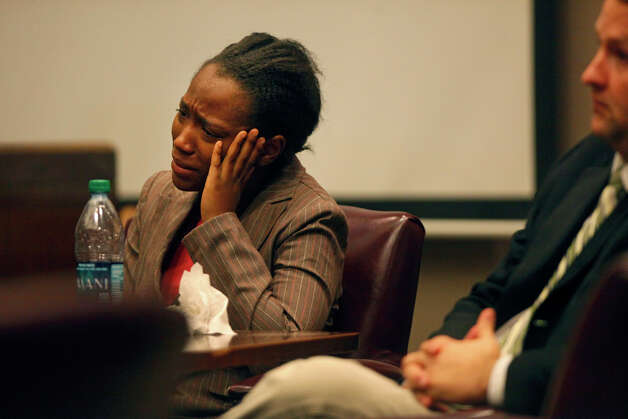 Tiffany James cries during the closing arguments of the punishment phase of her trial for the death of Antwan Wolford in the Bexar County 399th District Court on Friday, July 27, 2012. James was found guilty of manslaughter Thursday night. Photo: Lisa Krantz, San Antonio Express-News / San Antonio Express-News