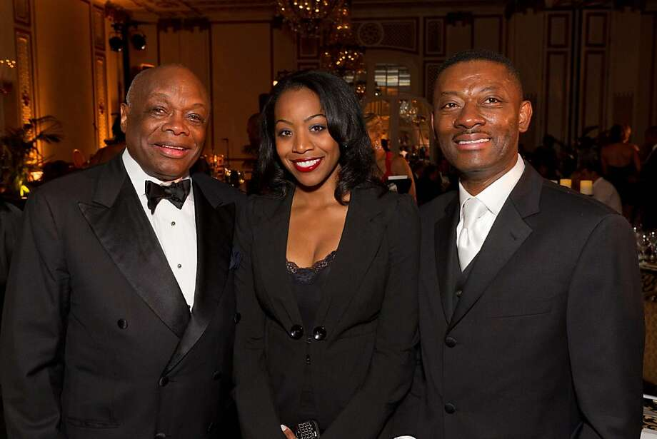 Former Mayor Willie Brown with Malia Cohen and Kofi Bonner at the sixth annual MoAD gala on Oct. 15 at the Palace Hotel in San Francisco. Photo: Drew Altizer, Photo - Drew Altizer