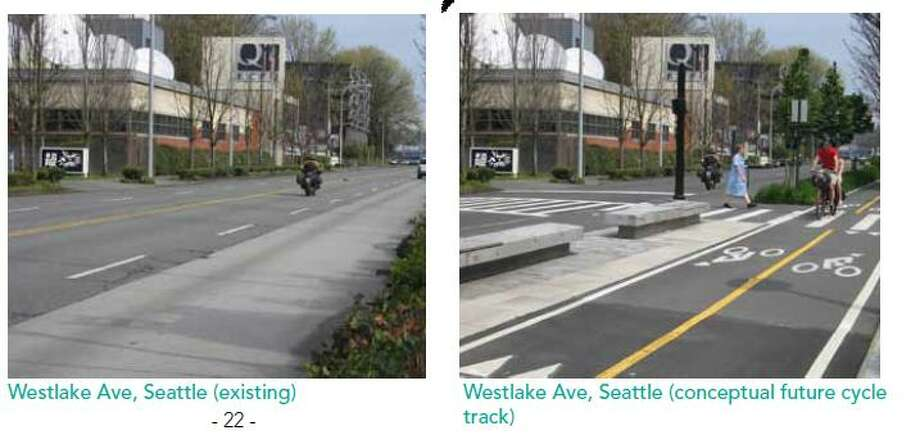 "Conceptualization of a protected bike track on Westlake Avenue with two fewer auto lanes (Similar to the configuration now on Dexter Avenue). Chicago has budgeted $40 million for a 100-mile network of protected  bike lanes. The Cascade Bicycle Club's bike report card says a 50-mile  network in seattle would begin ""to establish a foundation of world-class  bicycle facilities within Seattle's urban villages."" Photo: Cascade Bicycle Club"