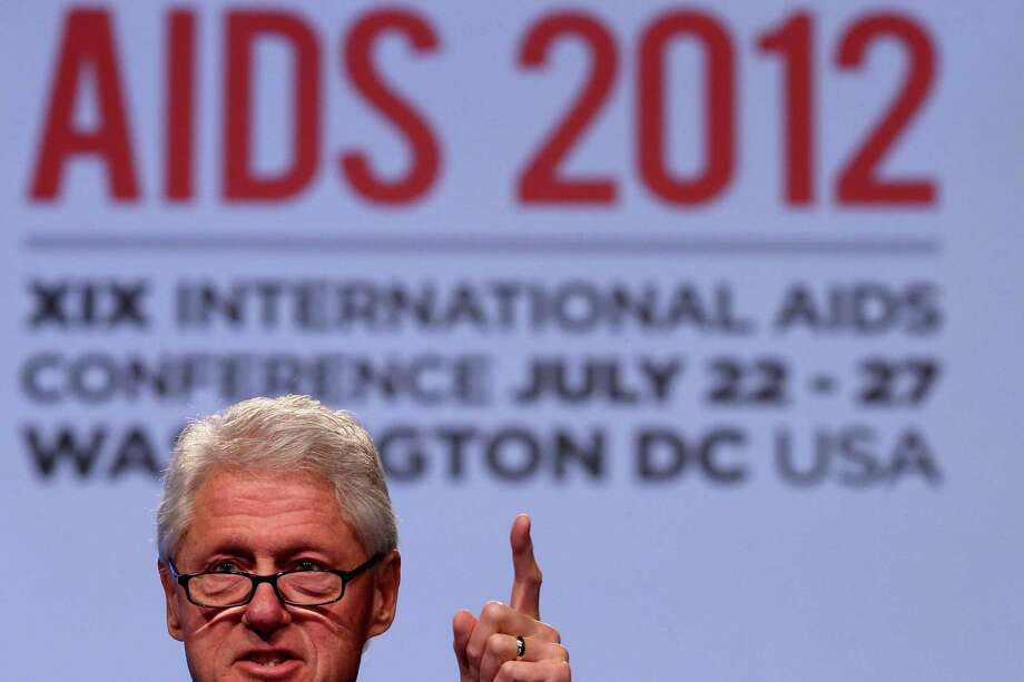 Former U.S. President Bill Clinton delivers closing remarks at the International AIDS Conference at the Walter Washington Convention Center late last month. Photo: Chip Somodevilla / 2012 Getty Images