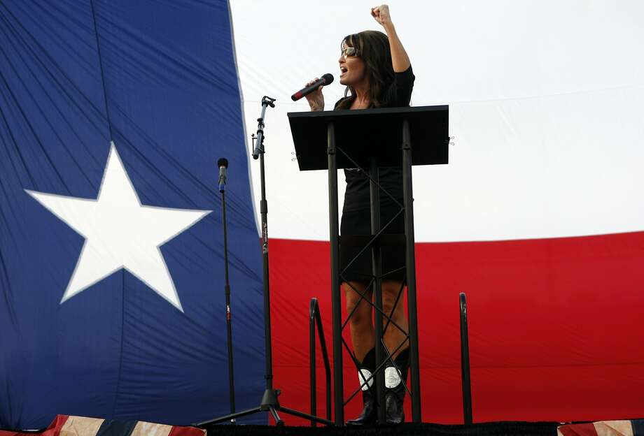 Sarah Palin speaks to a crowd of about 1,000 Ted Cruz supporters she rallied for Cruz, a Texas candidate for the U.S. Senate Friday, July 27, 2012, at Town Green Park in The Woodlands. South Carolina Sen. Jim DeMint also spoke at the rally.  Ted Cruz is running against Lt. Gov. David Dewhurst in a runoff election next week. ( Johnny Hanson / Houston Chronicle ) (Houston Chronicle)