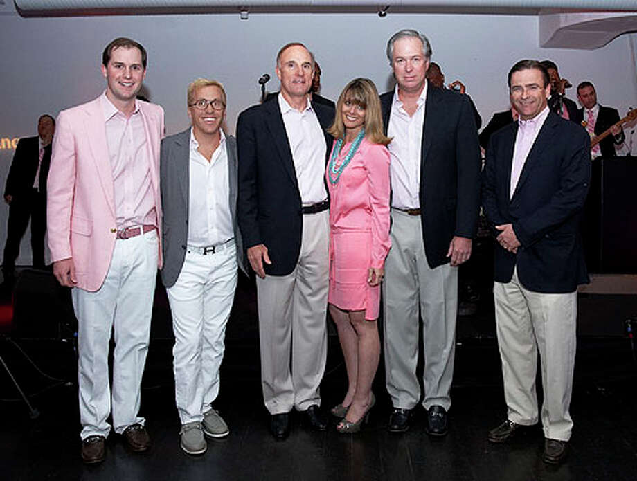 "From left, William Sinclair, Andrew Mitchell-Namdar, Campbell Gerrish, Yonni Wattenmaker, Turner Smith and Ken Mifflin at the second annual ""Men in Pink"" party at the Loading Dock in Stamford. Photo: Contributed Photo / Greenwich Time Contributed"