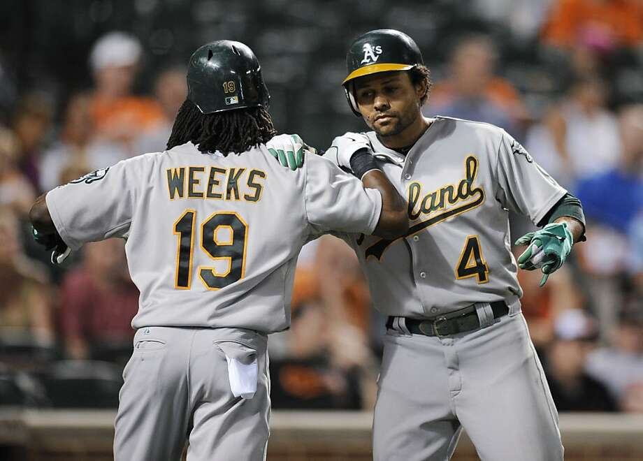 Oakland Athletics' Coco Crisp (4) celebrates with Jemile Weeks (19) after they both scored on a double by Seth Smith during the ninth inning of a baseball game against the Baltimore Orioles, Friday, July 27, 2012, in Baltimore. The Athletics won 14-9. (AP Photo/Nick Wass) Photo: Nick Wass, Associated Press