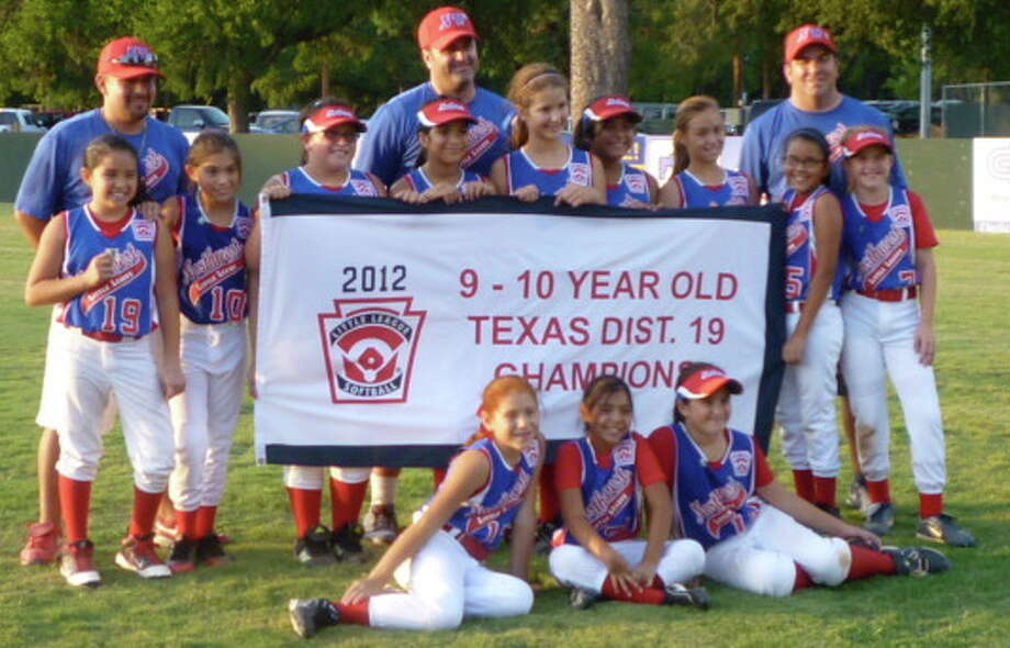 Northwest Little League All-Stars softball: Front row (from left) — Anissa Arredondo, Victoria Espinoza, Peyton Cruz; middle row — Desiree Rojas, Ariana Moreno, Alana Medellin, Vanessa Ayala, Madison Lunt, Alyssa Huron, Isis Budd, Caitlyn Rodriguez, Emily Hines; back row — coaches David Rojas, Scott Lunt, Jeffrey Hines; not pictured — Veda Hiser. Photo: Courtesy Photo