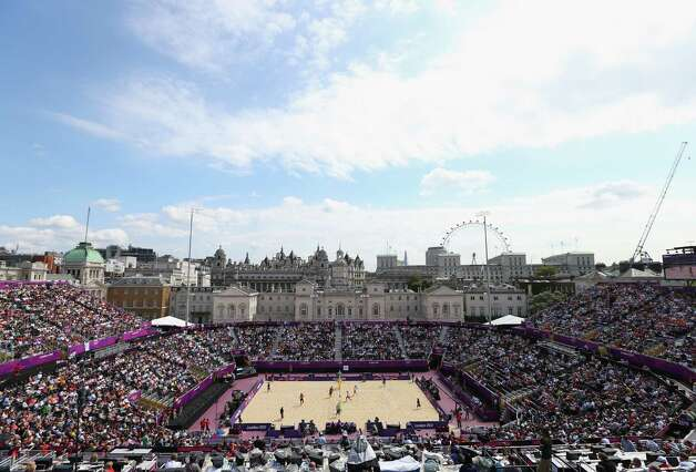 LONDON, ENGLAND - JULY 28:  A general view on Day 1 of the London 2012 Olympic Games at Horse Guards Parade on July 28, 2012 in London, England.  (Photo by Ryan Pierse/Getty Images) Photo: Ryan Pierse, Getty Images / 2012 Getty Images