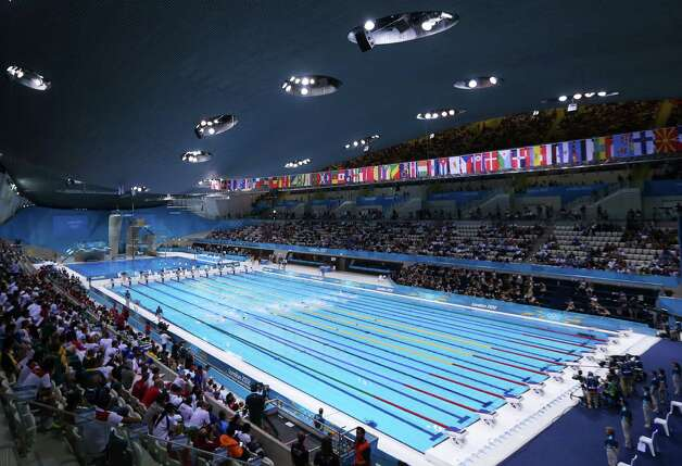 LONDON, ENGLAND - JULY 28:  A general view of the pool during the preliminary heats on Day One of the London 2012 Olympic Games at the Aquatics Centre on July 28, 2012 in London, England.  (Photo by Clive Rose/Getty Images) Photo: Clive Rose, Getty Images / 2012 Getty Images