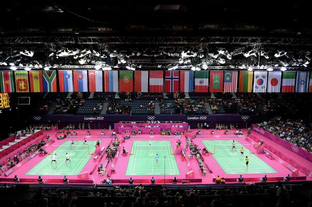 LONDON, ENGLAND - JULY 28:  Players compete in Badminton during Day 1 of the London 2012 Olympic Games at Wembley Arena on July 28, 2012 in London, England.  (Photo by Michael Regan/Getty Images) Photo: Michael Regan, Getty Images / 2012 Getty Images