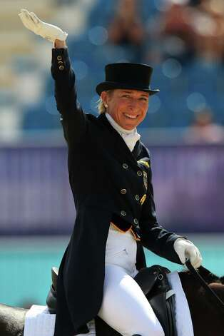 LONDON, ENGLAND - JULY 28:  Ingrid Klimke of Germany riding Butts Abraxxas competes in the Dressage Equestrian event on Day 1 of the London 2012 Olympic Games at Greenwich Park on July 28, 2012 in London, England.  (Photo by Alex Livesey/Getty Images) Photo: Alex Livesey, Getty Images / 2012 Getty Images
