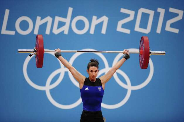 LONDON, ENGLAND - JULY 28:  Melanie Bardis of France competes in the Women's 48kg Group A weightlifting on Day 1 of the London 2012 Olympic Games at ExCeL on July 28, 2012 in London, England.  (Photo by Laurence Griffiths/Getty Images) Photo: Laurence Griffiths, Getty Images / 2012 Getty Images