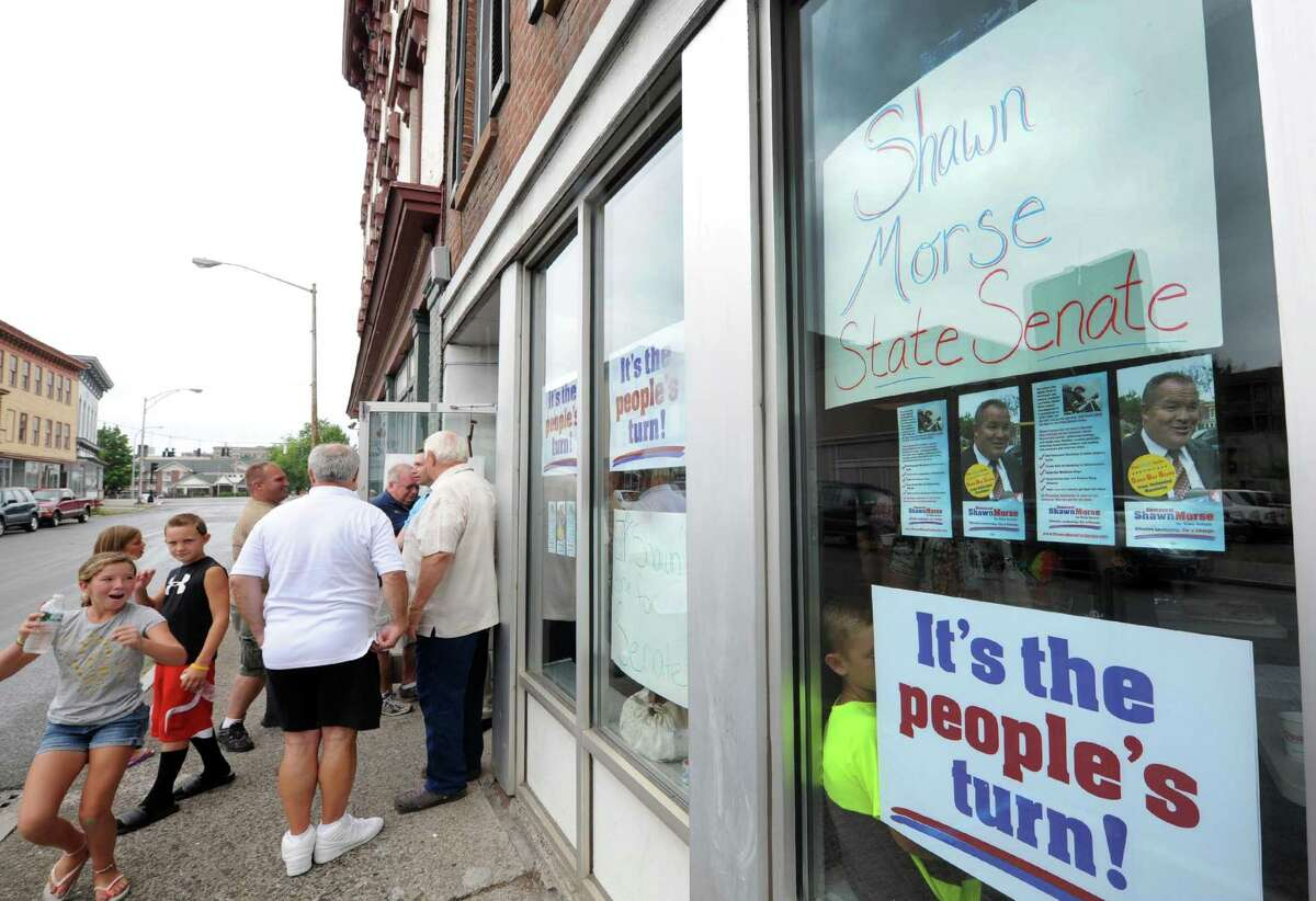 Democrat Shawn Morse, an active duty firefighter who is challenging longtime incumbent Neil Breslin in the race for State Senate in the 44th Senate District, opened his campaign office at 13 King Street inTroy NY Saturday July 28, 2012.(Michael P. Farrell/Times Union)