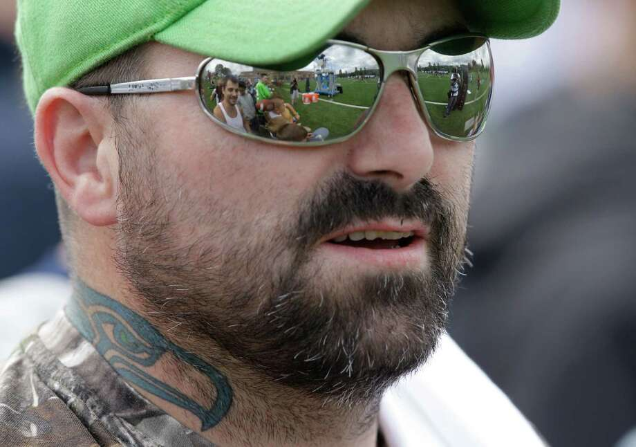 Seahawks fan Ken Winterbottom, of Everett, Wash., sports a Seahawks tattoo. Photo: AP