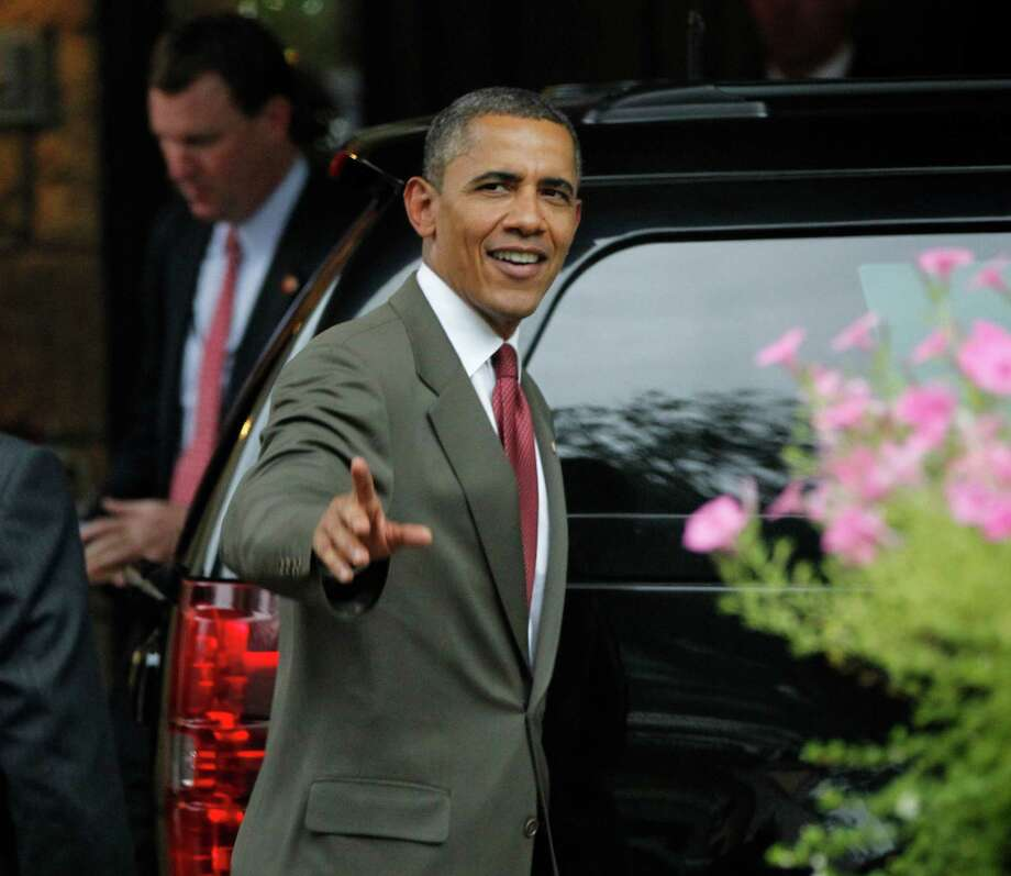President Barack Obama leaves a private residence following his campaign fundraiser in McLean, Va., Friday, July, 27, 2012. (AP Photo/Pablo Martinez Monsivais) Photo: Pablo Martinez Monsivais