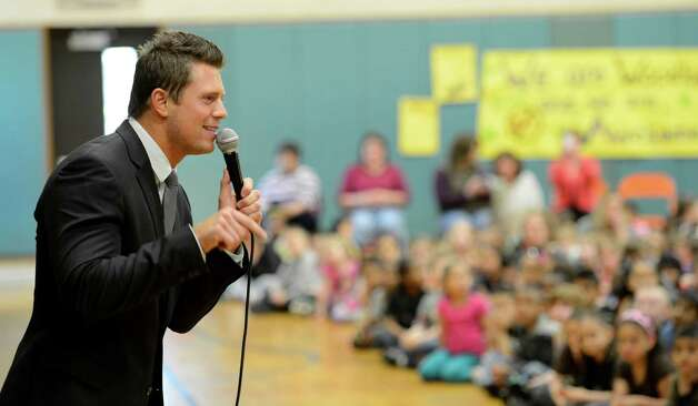 WWE star The Miz speaks to Woodlawn School students about the dangers of bullying during an assembly May 11, 2012, in Schenectady, N.Y.  (Skip Dickstein / Times Union) Photo: SKIP DICKSTEIN, TIMES UNION / ONLINE_YES